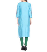Blue Cotton Silk Block Printed Kurti