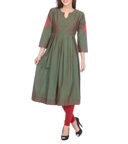 Green Cotton Block Printed Kurti