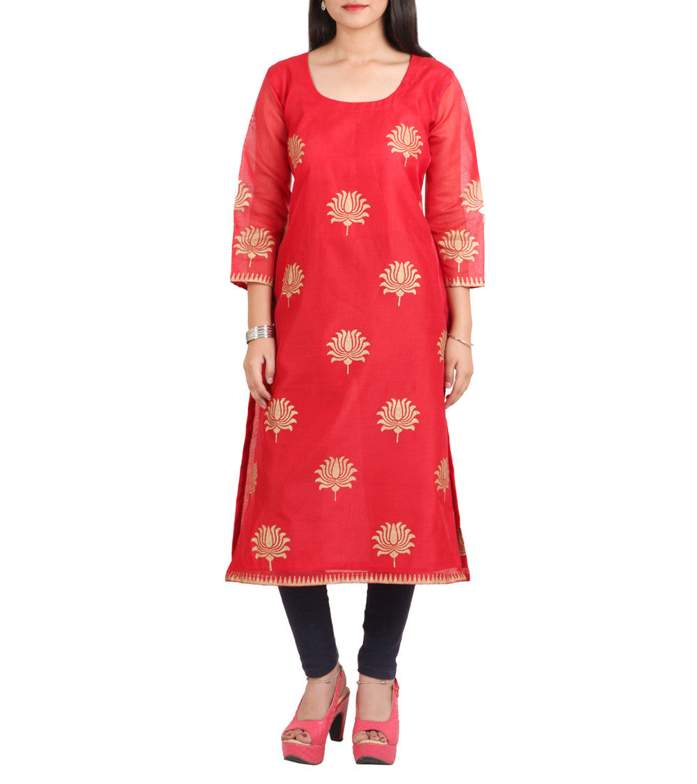 Red Chanderi Block Printed Kurti