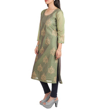 Green Chanderi Block Printed Kurti
