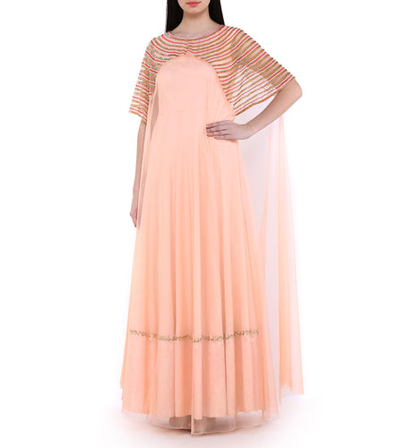 Pink Greogette Embroidered Gown With Cape