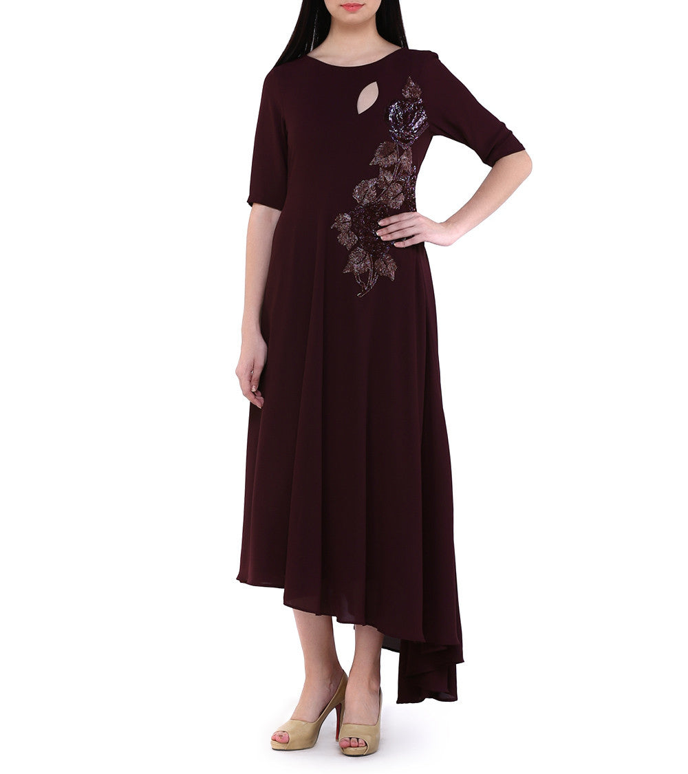 Wine Georgette Sequined Wine Kurta Cum Dress