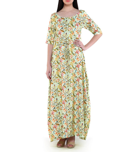 Yellow Crepe Printed Front Tie Gown