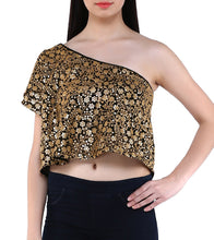 Black Georgette Sequined & Embroidered Off Shoulder Crop Top