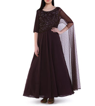 Wine Georgette Sequined Gown With One Side Drape Dupatta