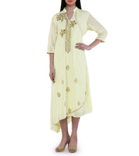 Yellow Georgette Zardozi Kurta With Flap