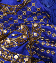 Blue Georgette Mirror Work Suit