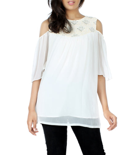 Off White Georgette Embroidered Tunic
