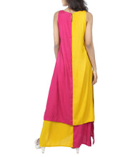 Pink & Yellow Pinup Cotton Solid Dress