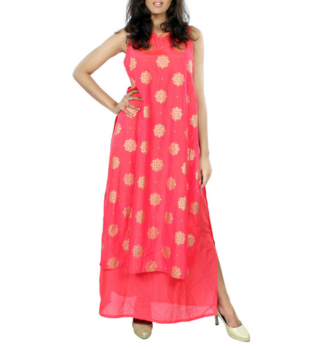 Coral Silk Brocade & Navratna Silk Print & Solid Dress