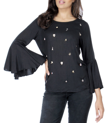 Black Cotton Blend Embellished Top