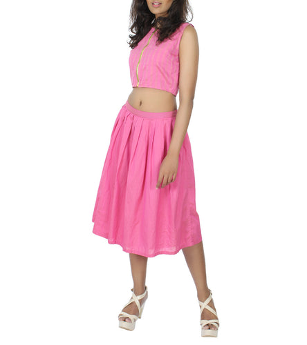 Pink Chanderi & Cotton Silk Printed & Solid Crop Top With Skirt