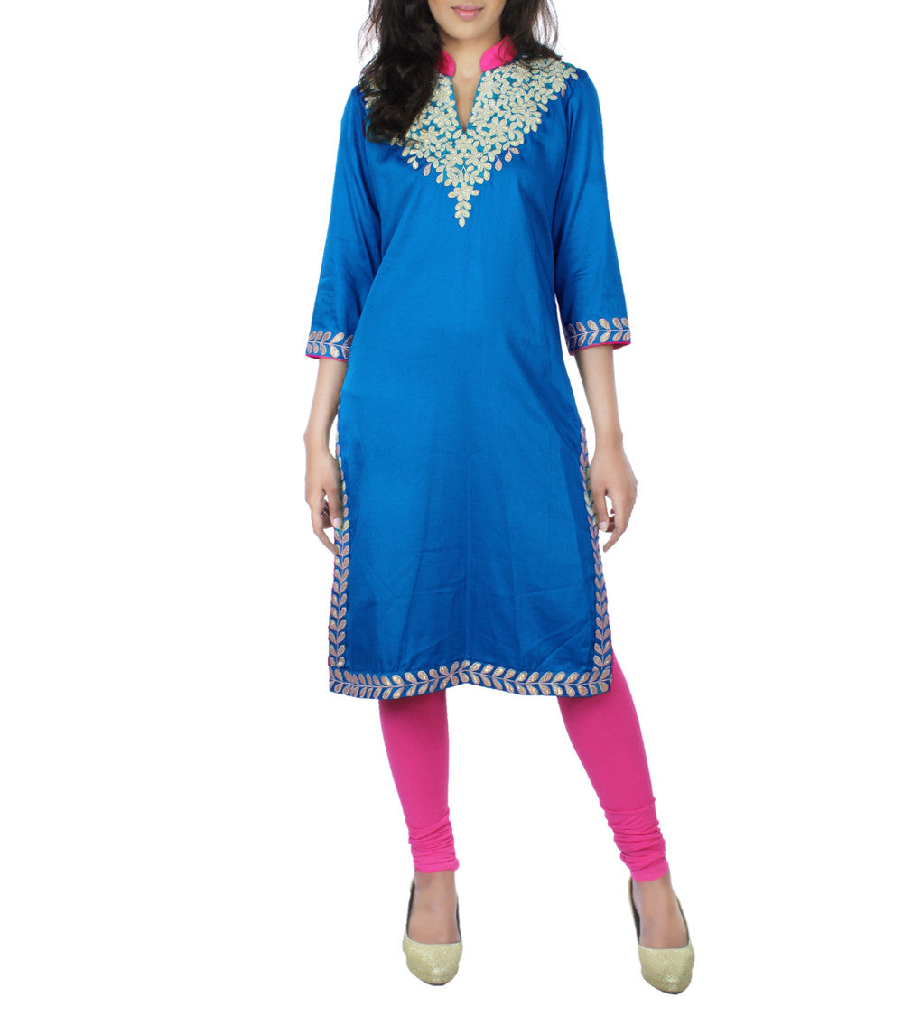 Turk & Pink Cotton Satin Gota Work Embroidered Kurti