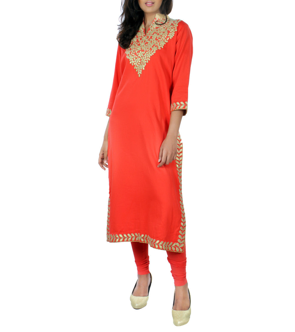 Coral Cotton Satin Gota Work Embroidered Kurti