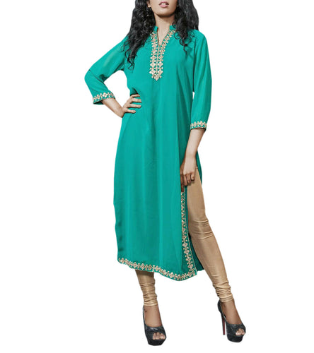Bottle Green Georgette Mirror Work Kurti