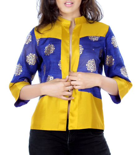 Blue & Mustard Silk Brocade & Navratna Silk Printed & Solid Jacket