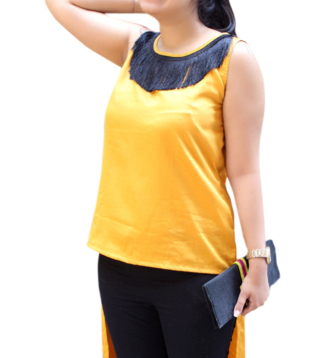 Mustard Cotton Satin Top