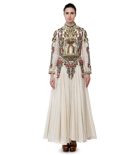 Off White Cotton Silk Thread And Zari Work Long Sleeves Gown