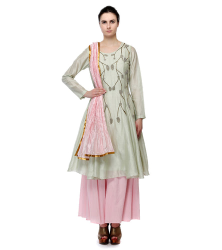 Off White & Pink Cotton Silk Zari Work & Foil Printed Kurta With Dupatta And Skirt