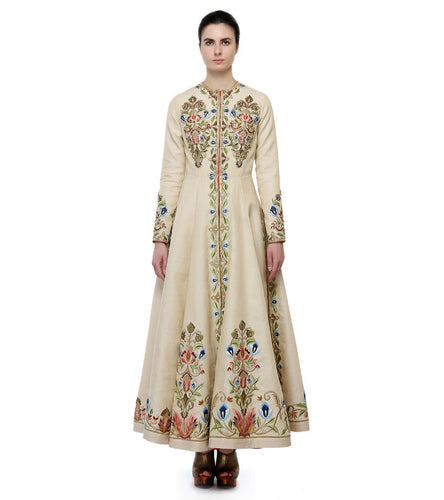 Off White Chanderi Silk Embroidered Front Open Gown
