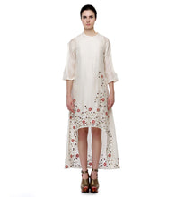 Off White Cotton Silk Thread Work High Low Hem Kurta