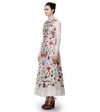 Off White Cotton Silk Thread Work Anarkali With Dupatta