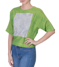 Lime Green Mangalgiri Cotton Block Printed Top