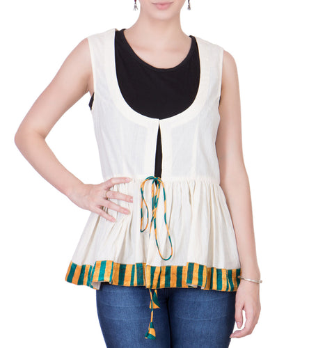 Ecru Cotton Block Printed Top