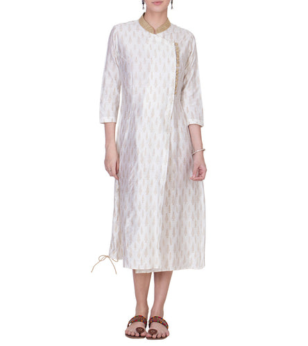 Off White Cotton Silk Block Printed Tunic