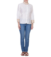 Off White Cotton Silk Block Printed Top