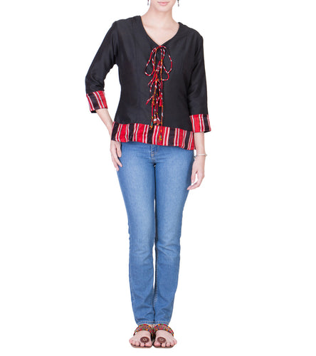 Black Cotton Silk Block Printed Top