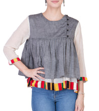 Grey Cotton Mangalgiri Block Printed Top