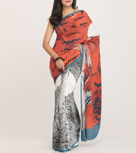 Rust & Blue Crepe Printed Saree With Blouse Piece