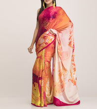 Fuschia & Cream Satin Printed Saree With Blouse Piece
