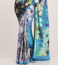 Multicoloured Satin Printed Saree With Blouse Piece