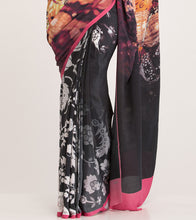 Multicoloured Crepe Printed Saree With Blouse Piece