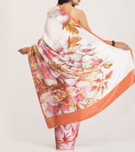 Orange & Pink Crepe Printed Saree With Blouse Piece
