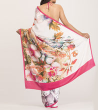 Pink & Cream Satin Printed Saree With Blouse Piece