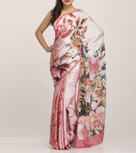 Peach & Cream Satin Printed Saree With Blouse Piece
