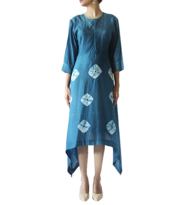 Blue Cotton Silk Hand Tied Bandhej Pattern Kurti