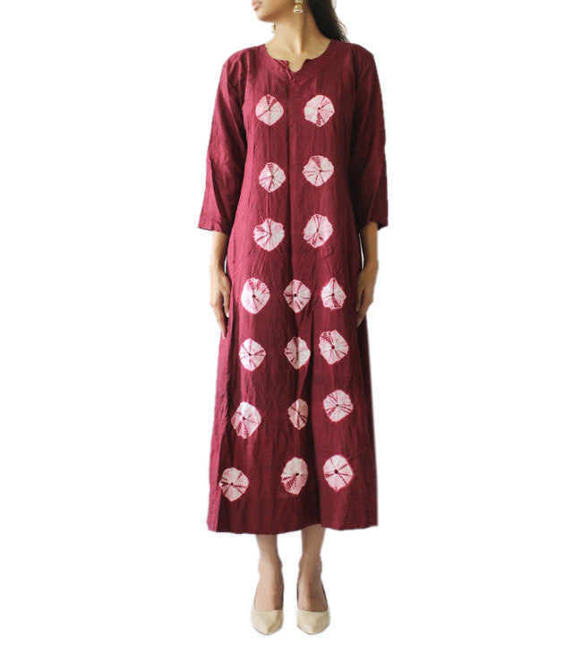 Marsala Cotton Silk Hand Tied Bandhej Pattern Kurti