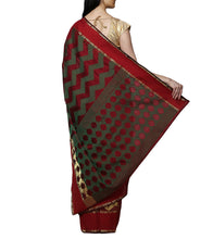 Maroon Chanderi Silk Zari Work Saree With Blouse Piece
