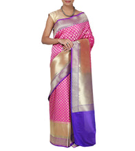 Magenta Chanderi Silk Zari Work Saree With Blouse Piece