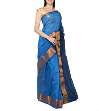 Blue Chanderi Silk Zari Work Saree With Blouse Piece