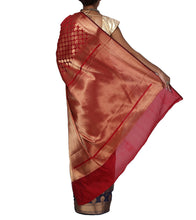 Red Chanderi Silk Zari Work Saree With Blouse Piece