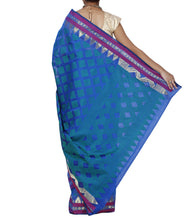 Green Chanderi Silk Zari Work Saree With Blouse Piece