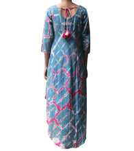 Blue & Pink Cotton Tie Dyed & Embroidered Kite Shaped Dress