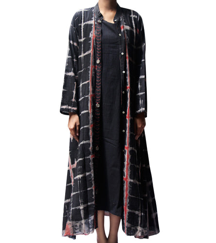 Black Malmal Tie Dyed & Embroidered Kurti With Jacket