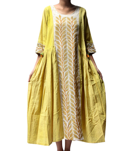 Yellow Cotton Tie Dyed & Embroidered Leaf Batik Dress