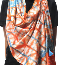 Blue & Orange Malmal Tie Dyed & Embroidered Scarf